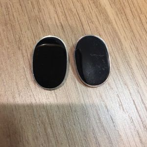Jewelry - Vintage sterling silver and onyx earrings